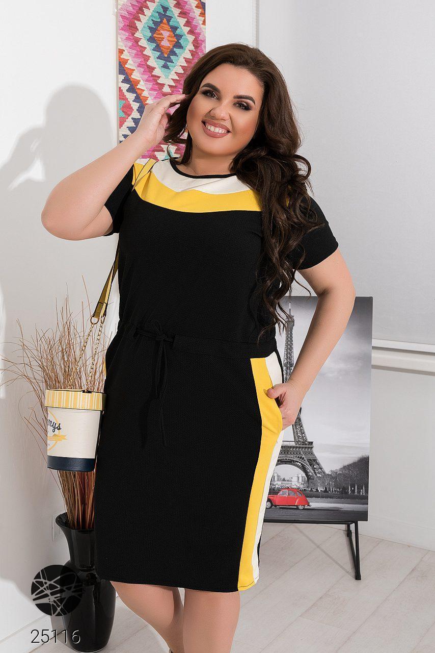 Летнее платье casual с контрастными вставками. Модель 25116