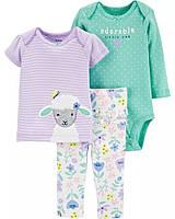Красивый комплект - футболочка, боди и штанишки Овечка Картерс для девочки