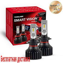 Светодиодные лампы h7 Carlamp Smart Vision лед для авто 8000 Lm 6500 K Philips ZES Chip 30000 часов (SM7)