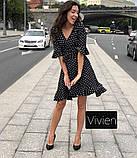 Летнее платье на запах в горох размера норма, 3 цвета, р.42-44,44-46 код 1246Х, фото 2