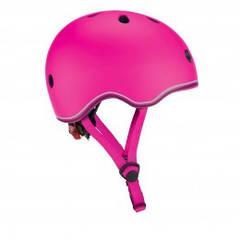 Защитный шлем детский Globber Evo Lights, розовый, с фонариком, 45-51см 506-110