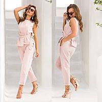 """Костюм летний льняной розовый  пудровый брюки и майка """"Ларика"""""""