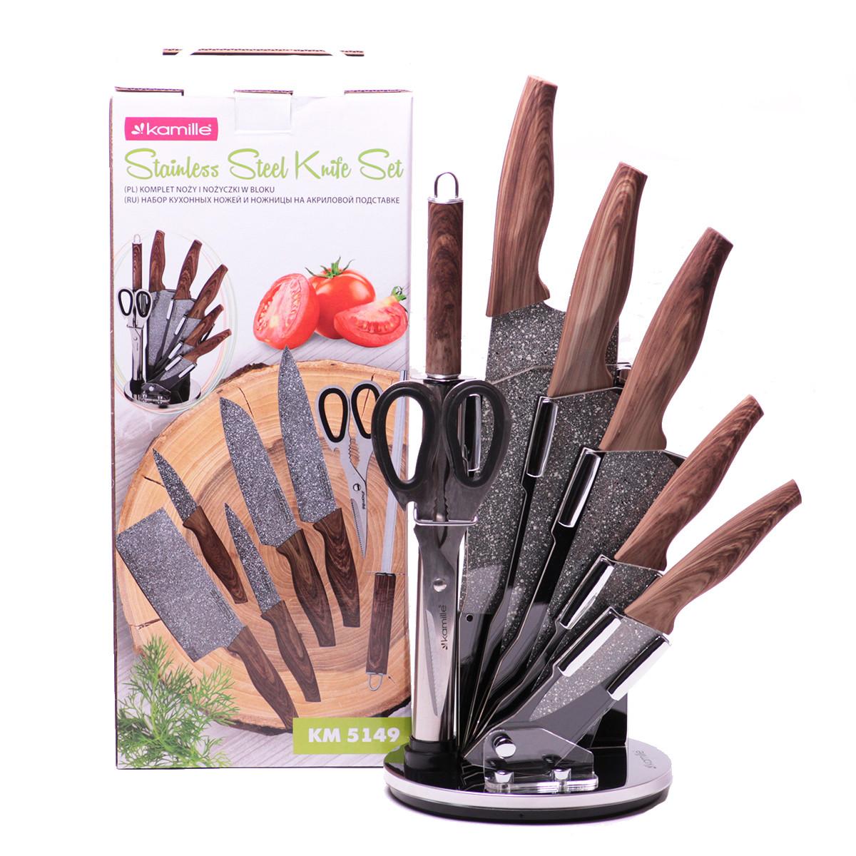 Набор кухонных ножей Kamille и ножницы на акриловой подставке 8 предметов KM-5149
