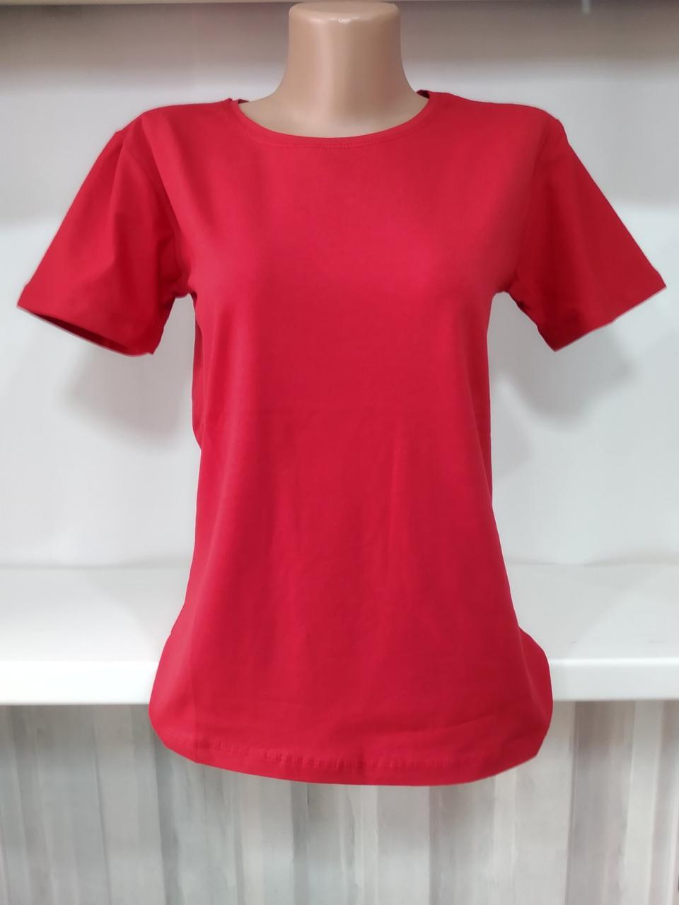 Футболка женская на лето ТУРЦИЯ однотонка размер 46,48  микс цвета красный,белый,чёрный,серый