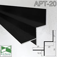 Алюминиевый профиль теневого шва 20х30 мм. Sintezal ATP-20 Чёрный (RAL-9005)