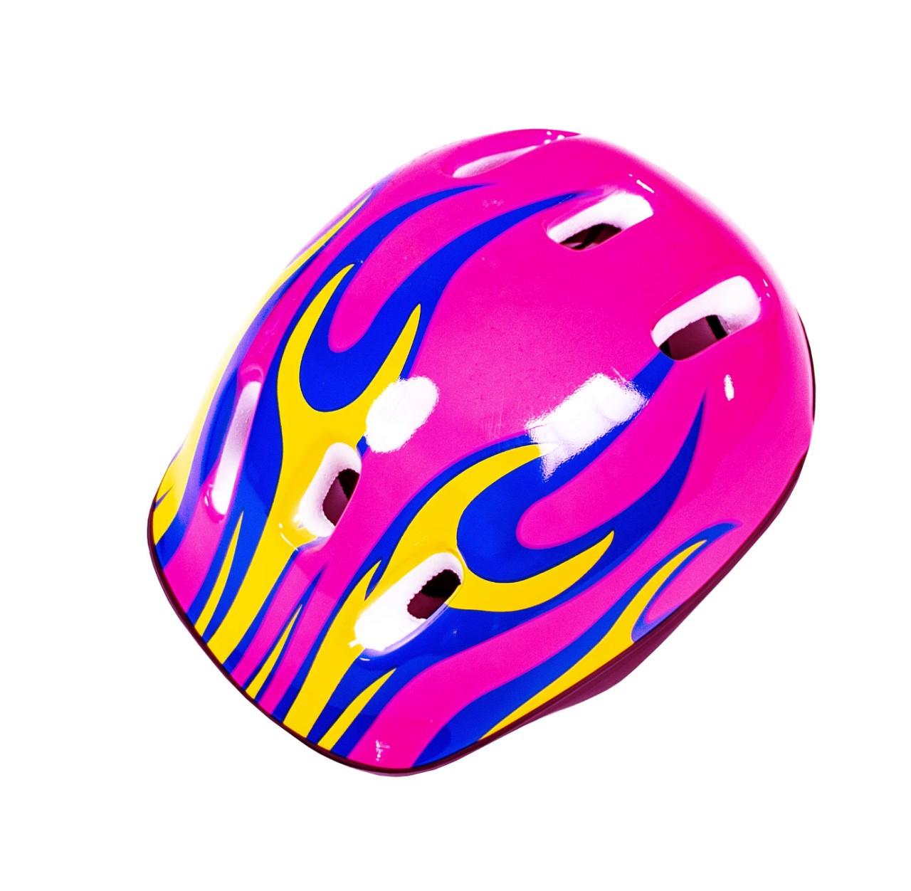 Шлем детский, для катания на роликах, скейте, велосипеде Pink. Огонь розовый