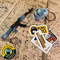 Набор металлических брелоков + виниловые наклейки из игры PUBG
