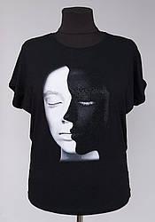Женская блузка футболка черного цвета «День и ночь»
