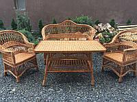 """Простой набор плетеной мебели диван,столик, кресла """"Обычной""""  из лозы"""
