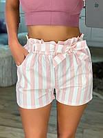 Шорты женские короткие коттоновые принт полоска, с карманами и поясом резинкой, 7 цветов, р.42-46, код 764Г