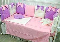 Бортики в кроватку, конверт, бантик, простынь,ортопедическая подушка для новорожденных