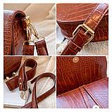 Модная маленькая женская сумка. Сумка седло женская стильная под крокодила. Сумочка полукруглая (коричневая), фото 8