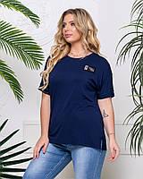 Стильна футболка батал жіноча синього кольору, фото 1
