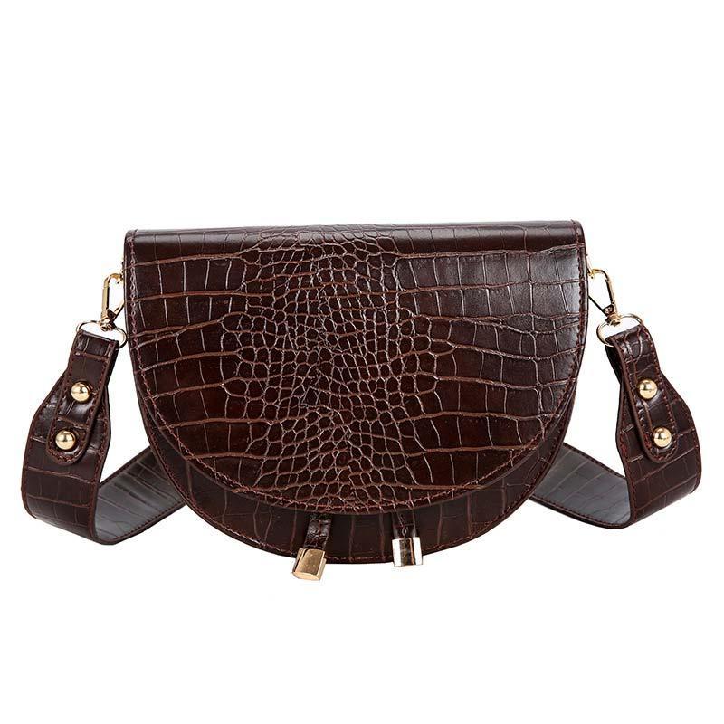 Модная маленькая женская сумка. Сумка седло женская стильная под крокодила. Сумочка полукруглая (коричневая)