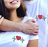 """Парные, женские, мужские футболки """"Пульс с сердцем"""" от производителя, фото 2"""