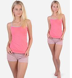 Пижама женская летняя домашний комплект хлопок майка и шорты