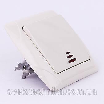 Выключатель одноклавишный VI-KO Carmen проходной с подсветкой скрытой установки (белый)