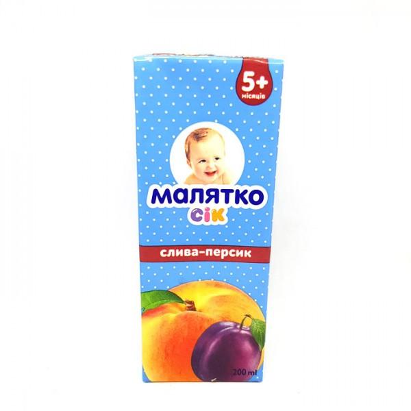 Сок слива-персик с мякотью Малятко 200мл