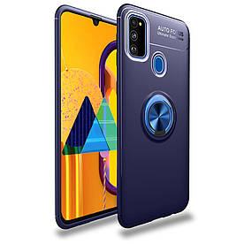 Чехол накладка для Samsung Galaxy M31 M315 противоударный с магнитным кольцом, Синий