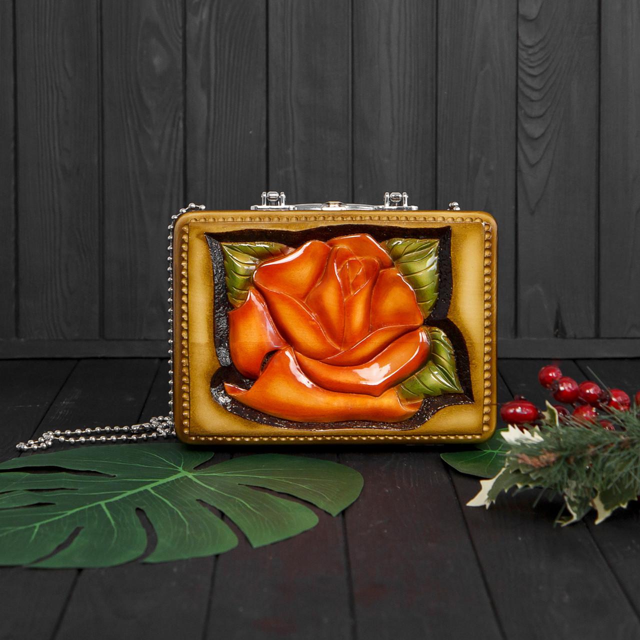 Компактная женская сумочка ручной работы из дерева, эксклюзив, STRYI, 25*18*8