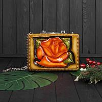 Компактная женская сумочка ручной работы из дерева, эксклюзив, STRYI, 25*18*8, фото 1