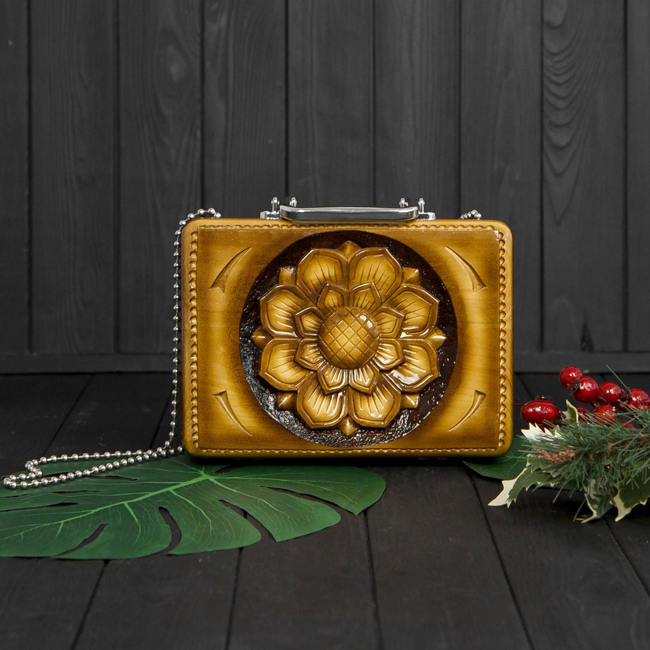 Компактная женская сумочка ручной работы из дерева, эксклюзив, STRYI, 25*18*8, фото 2