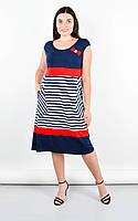Повседневное платье больших размеров БАНТ полоса, размер 50-64 ,цвет синий