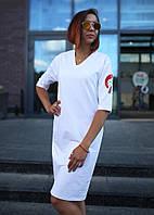 Платье-футболка женское белое бренд ТУР модель Хидеко (Hideko)