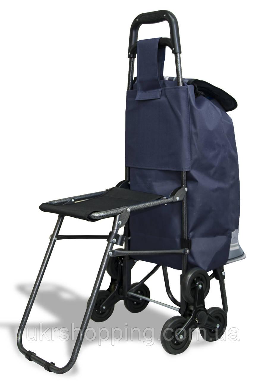 Хозяйственная тележка на колесиках - Цвет №11, ось на трех колесах - Сумка-кравчучка (SH)