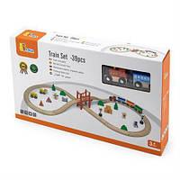 Детская железная дорога, деревянная игрушечная железная дорога Viga Toys, 39 деталей