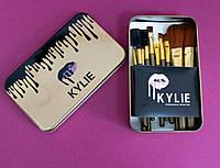 🔝 Набор кистей для макияжа 12 шт., золотые кисти Kylie для растушевки теней пудры тональной основы | 🎁%🚚