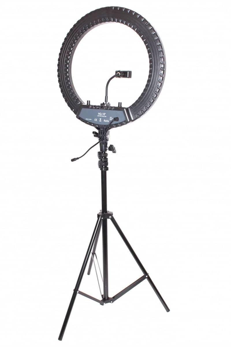 HQ-18 профессиональная кольцевая лампа 45см со стойкой и сумкой - Черный