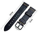 Кожаный ремешок Primolux C052B Steel buckle для часов Garmin Vivoactive 3 / Vivomove HR  - Black, фото 3