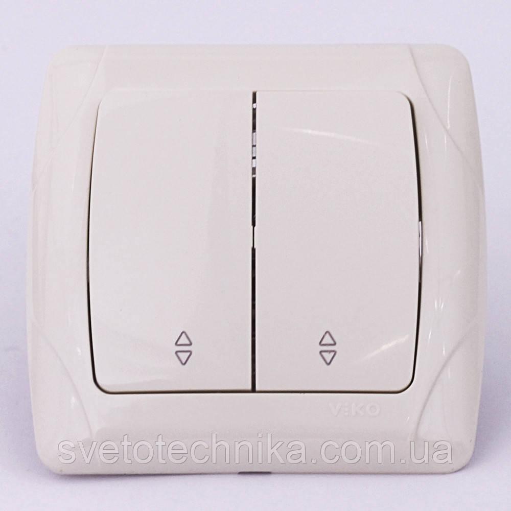 Выключатель двуклавишный проходной VI-KO Carmen скрытой установки (белый)