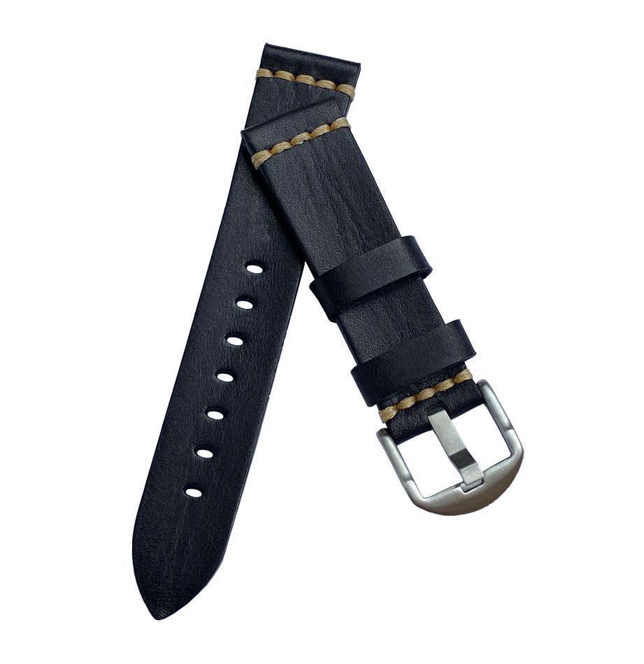 Кожаный ремешок Primolux C052B Steel buckle для часов Garmin Forerunner 245 / Forerunner 645 - Black