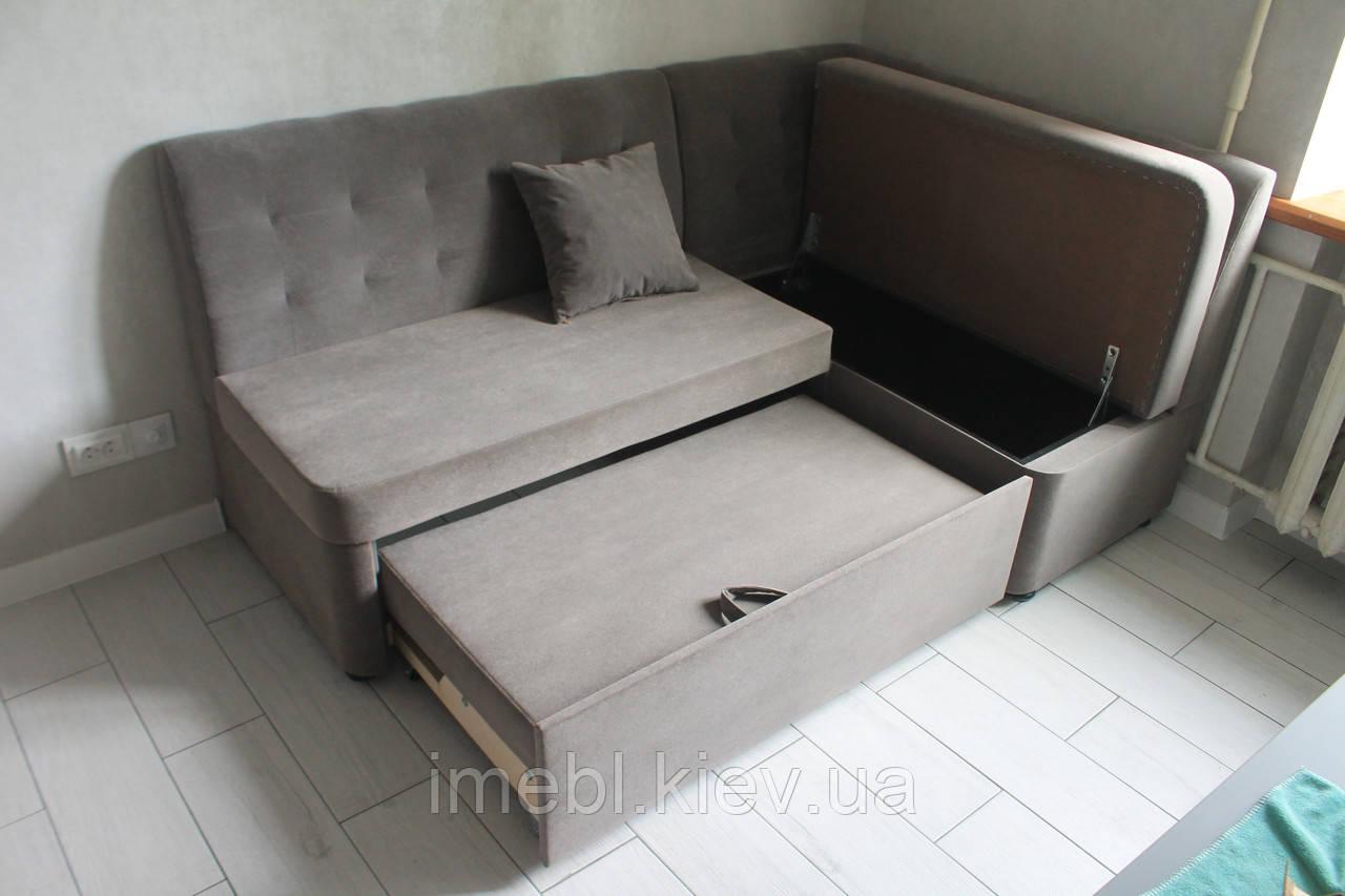 М'який кухонний куточок зі спальним місцем і ящиком (Сірий)
