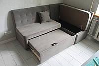 М'який кухонний куточок зі спальним місцем і ящиком (Сірий), фото 1