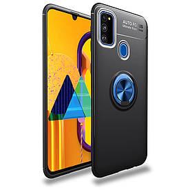 Чехол накладка для Samsung Galaxy M31 M315 противоударный с магнитным кольцом, Черный с синим