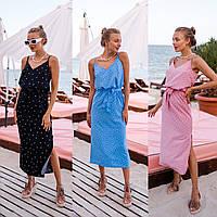Платье женское летнее в горошек с разрезом 42-44, 44-46