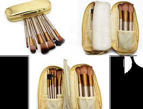 Набір професійних пензликів для макіяжу Urban Decay Neked2 Gold 12 шт в чохлі