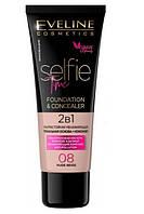 Ультра устойчивая тональная основа + консилер Eveline Selfie Time 2 в 1 08 Nude Beige 30 мл