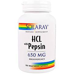 Бетаин HCl + пепсин Solaray 100 капсул 20547, КОД: 1614622