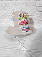 Панамка для мальчиков лен с сеточкой размер 48-50 Тачки