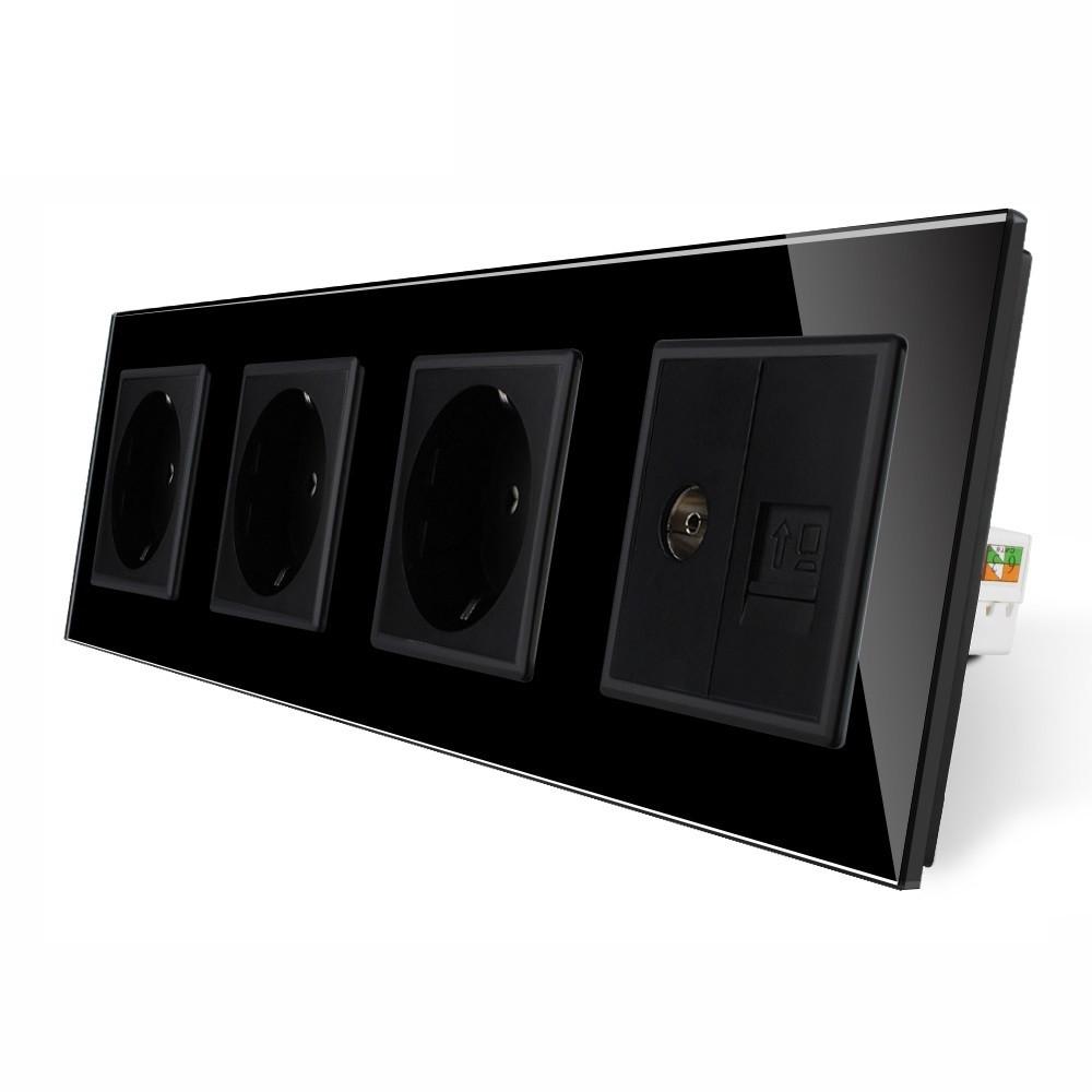Розетка с заземлением ТВ розетка интернет розетка RJ-45 Livolo цвет черный стеклянная (VL-C7C3EU1C1V-12)