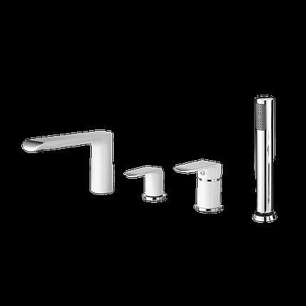 Змішувач для ванни врізний (на 4 відчини) хром/білий 43128141W IVEN Devit, фото 2