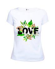 Красивая летняя белая женская футболка с принтом Love от производителя