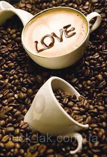 Алмазная вышивка кофейные зерна 30х40 см, полная выкладка НА ПОДРАМНИКЕ 24х33 см