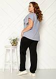 Женский трикотажный комбинированный костюм с асимметричной футболкой, ботал.2цв Р. 50-52,54-56,58-60 Код 2022Б, фото 5