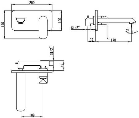 Змішувач для раковини зі стіни з донним клапаном, хром/білий  4311X141W IVEN  Devit, фото 2