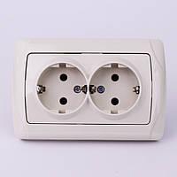 Розетка электрическая VI-KO Carmen скрытой установки двойная с заземлением (кремовая)